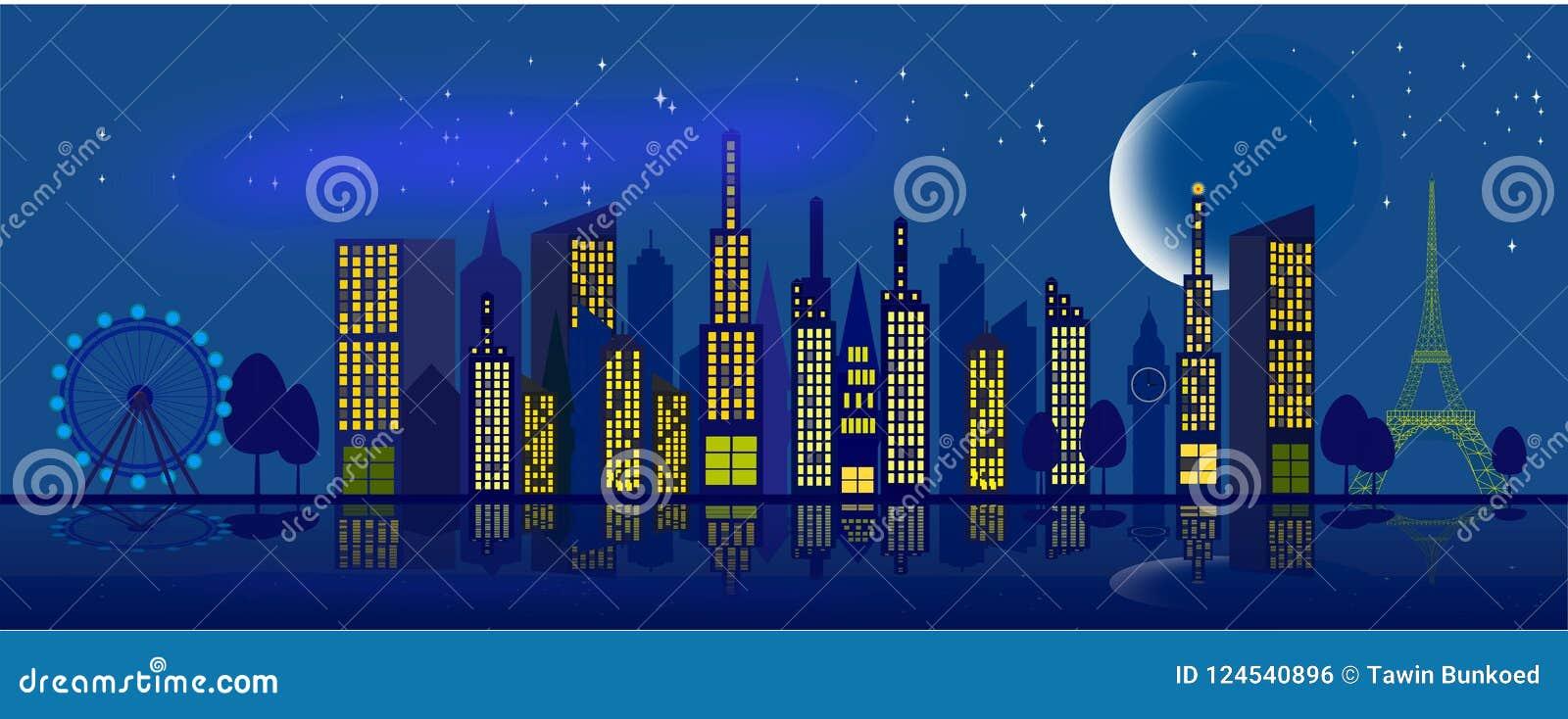Cielo en la ciudad en la noche con la luna y las estrellas