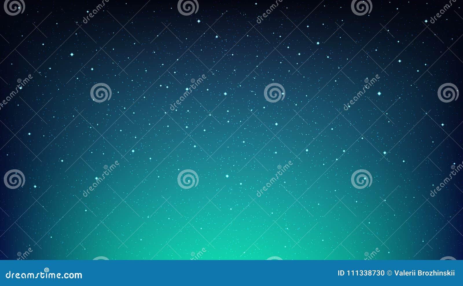 Cielo estrellado brillante de la noche, fondo azul del espacio con las estrellas