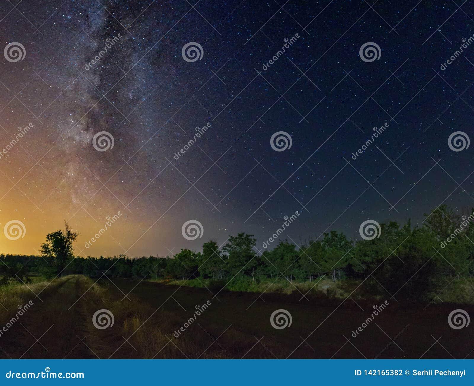 Cielo estrellado con la galaxia de la vía láctea sobre el paisaje rural de la noche de verano