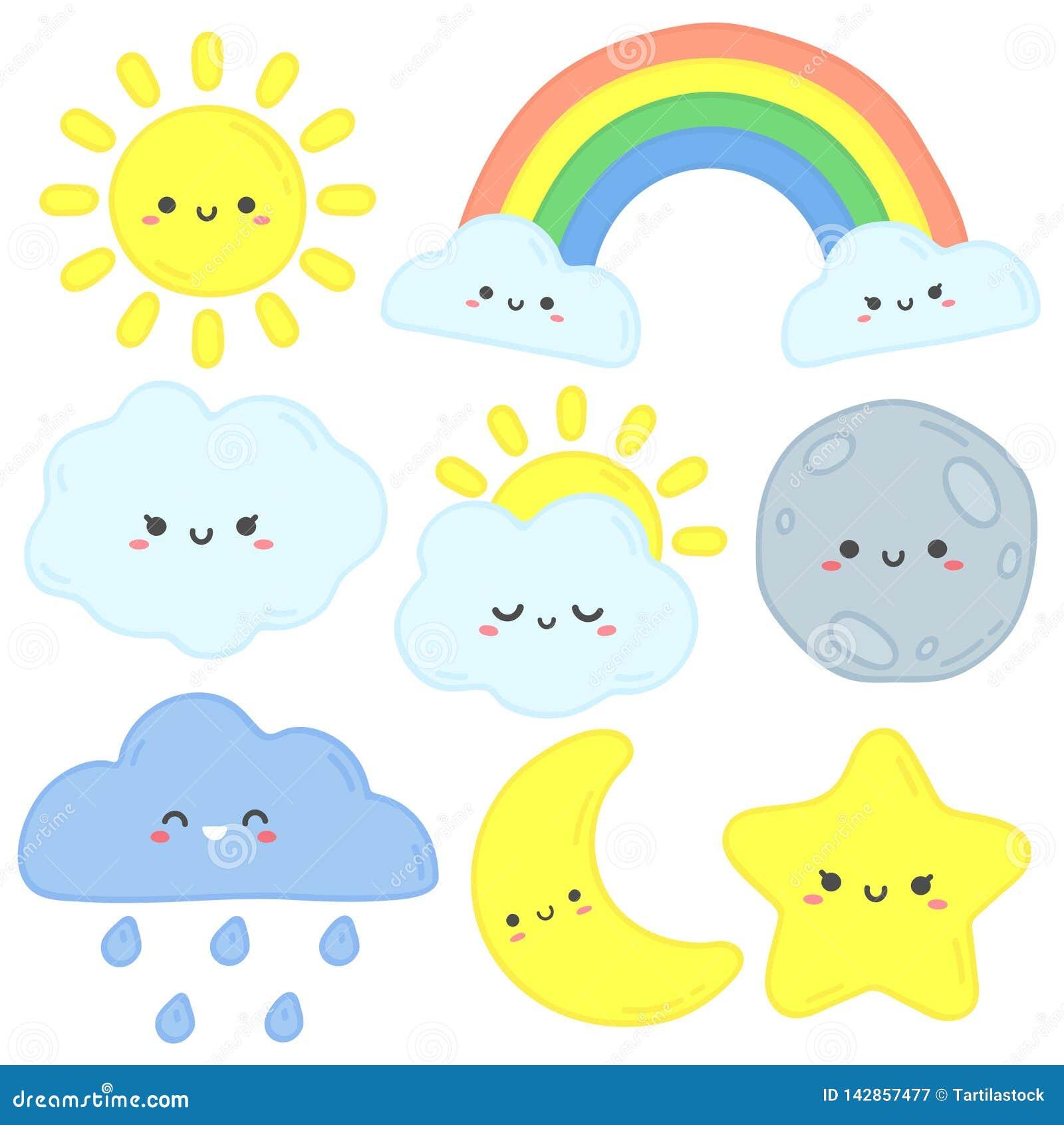 Cielo lindo Sol feliz, luna divertida y estrella exhausta de la mano Nubes del sueño del cuarto de niños, arco iris del bebé y
