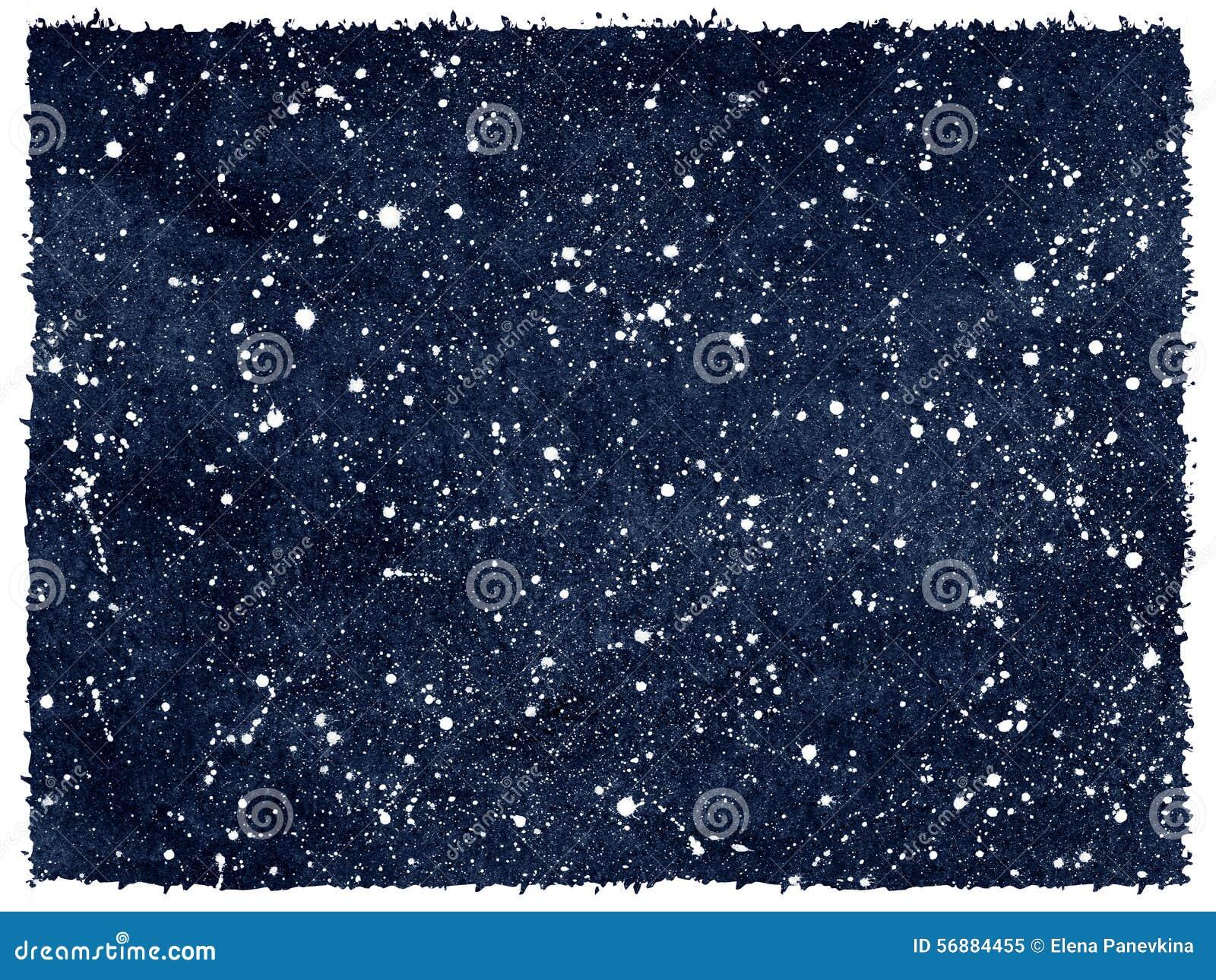 Cielo notturno dell acquerello con le stelle ed i bordi approssimativi