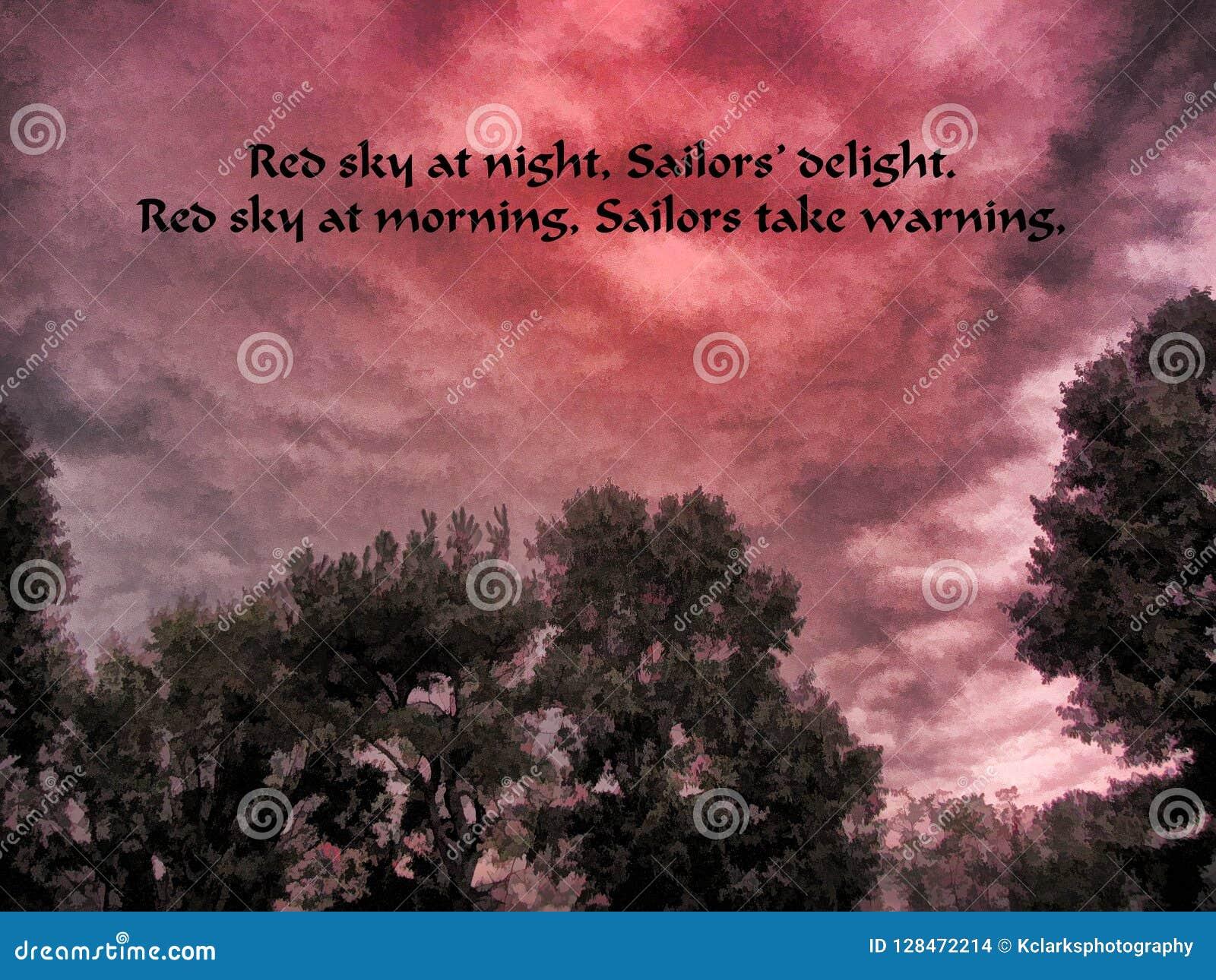 Cielo Rosso Di Notte.Cielo Rosso A Delizia Del Dei Marinai Di Notte Fotografia Stock