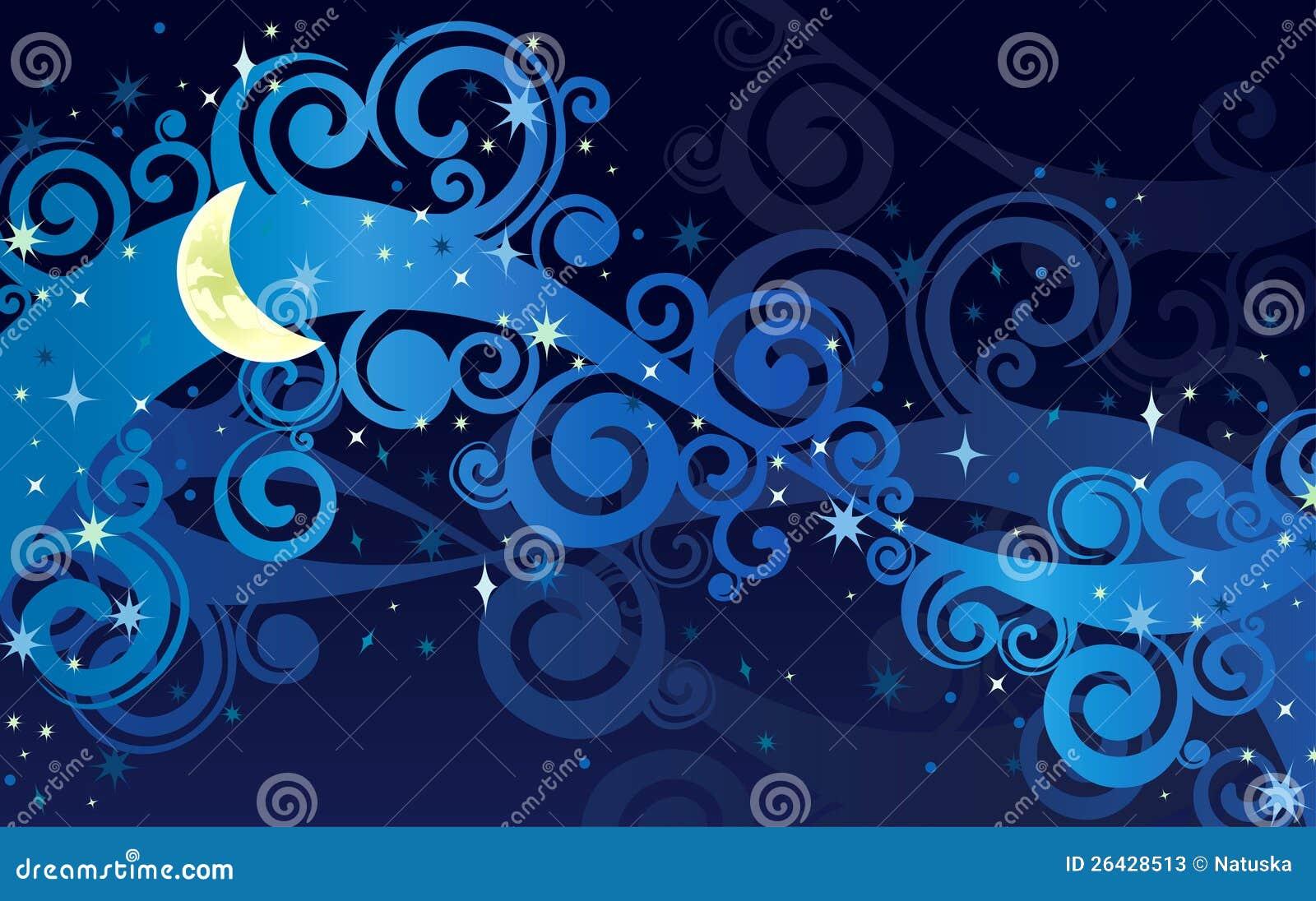 Cielo Stellato Di Notte Con La Luna Gialla Fotografie Stock - Immagine: 26428513