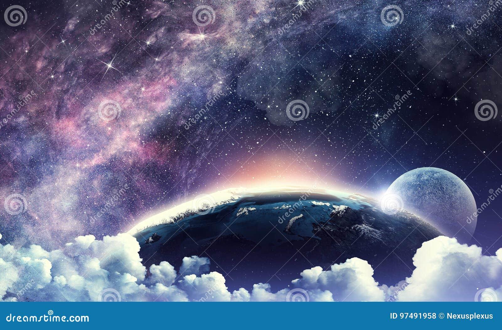 Cielo stellato e luna Media misti