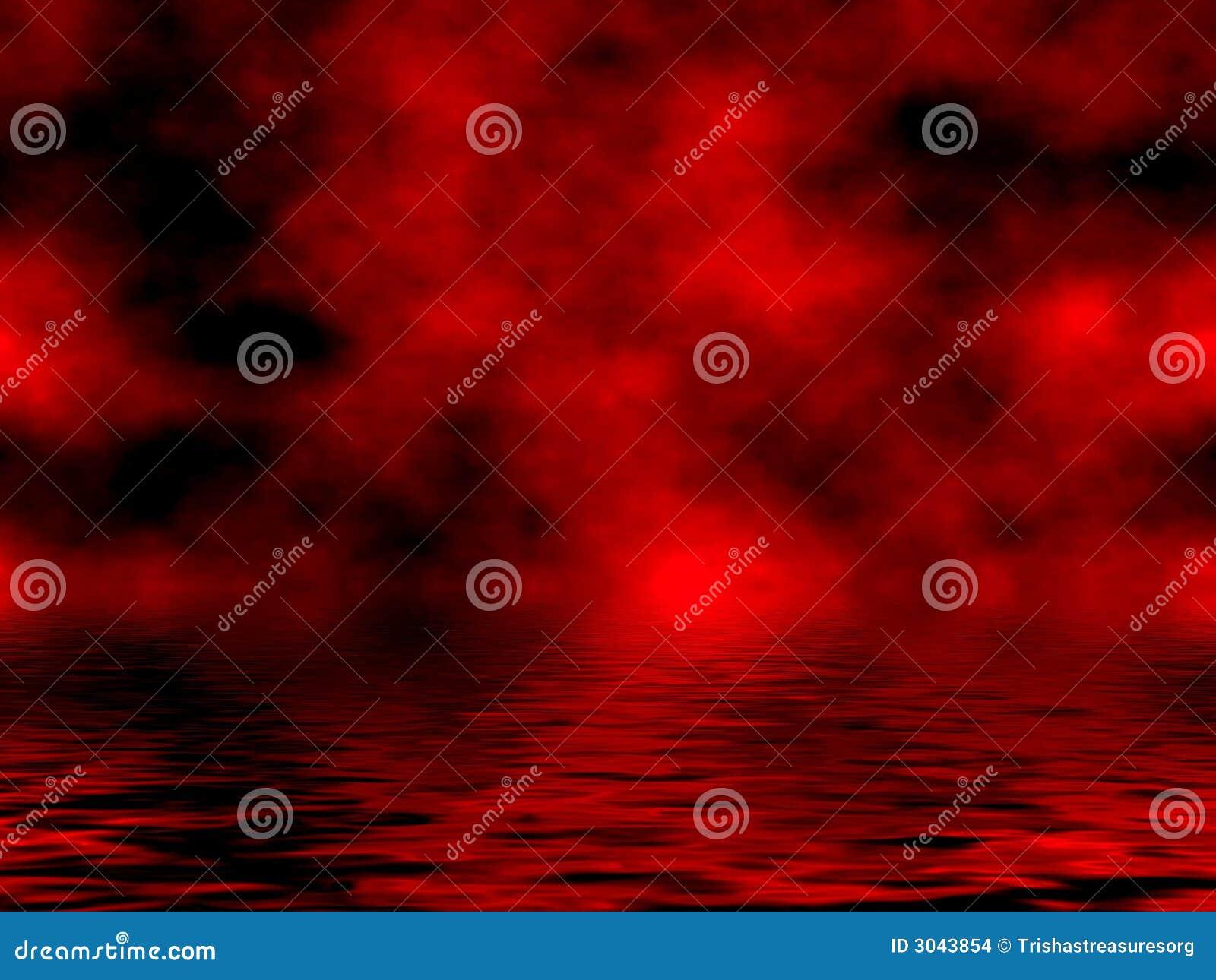 Cielo y agua rojos