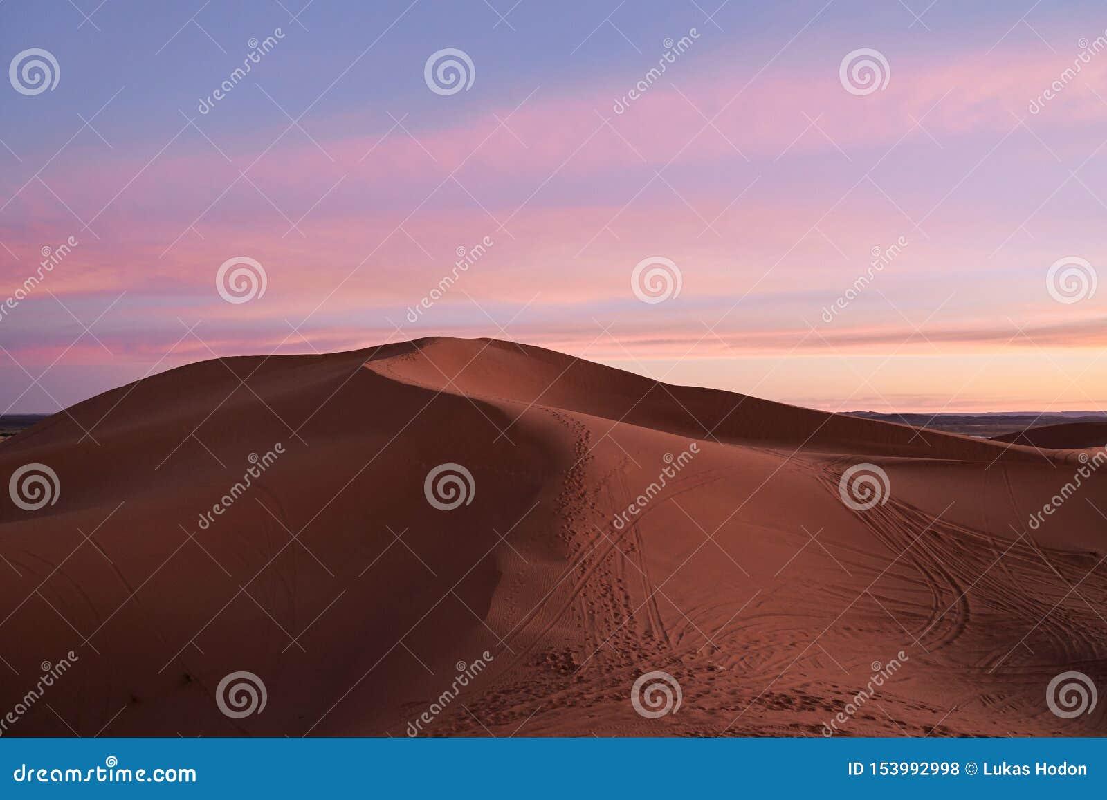 Cielo y dunas rosados en el desierto del Sáhara después de la puesta del sol