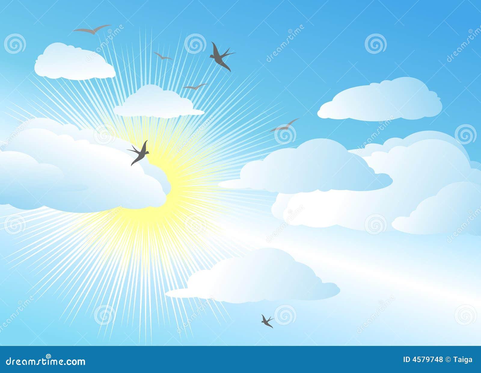 Cielo y sol/fondo del vector