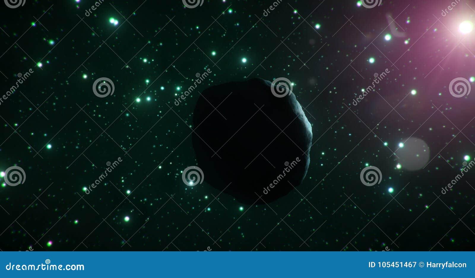 Ciemna strona lodowa asteroida podróżuje przez zimnej rozległości przestrzeń na tle zielone gwiazdy