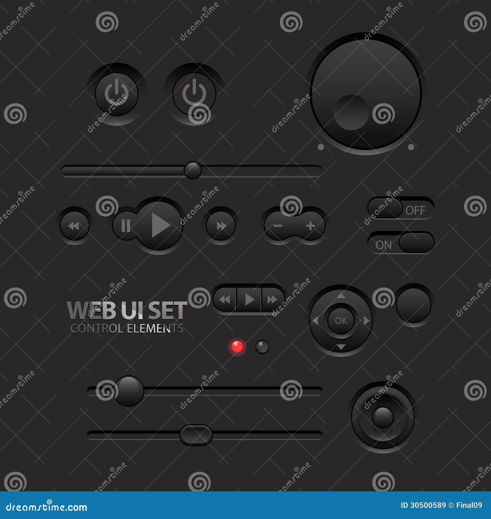 Ciemni sieci UI elementy. Guziki, zmiany, bary
