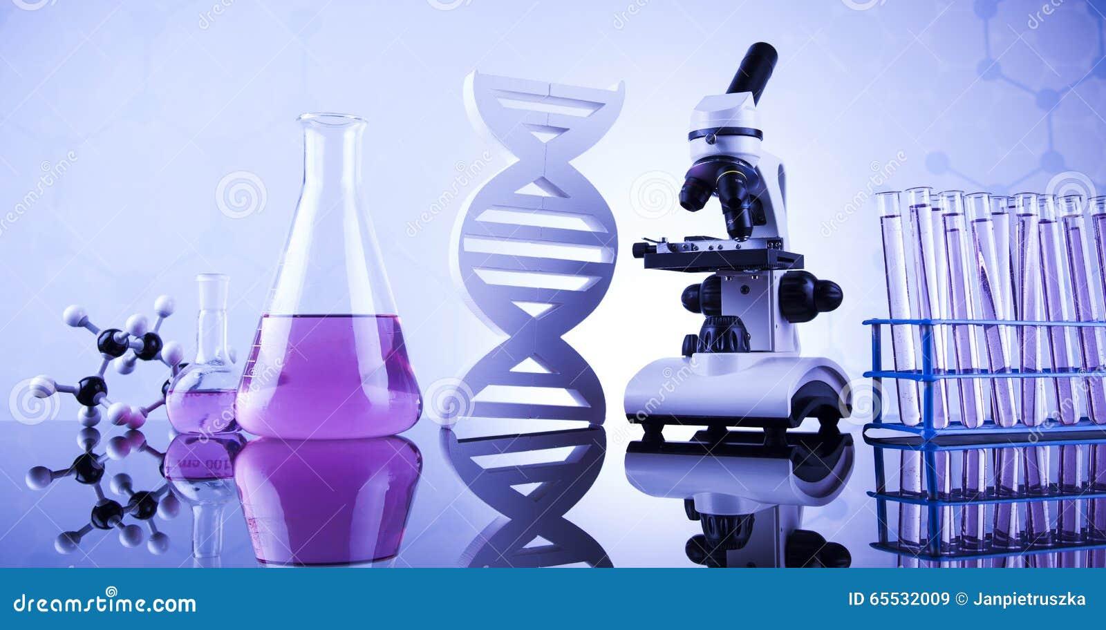 Ciencia de la química, fondo de la cristalería de laboratorio
