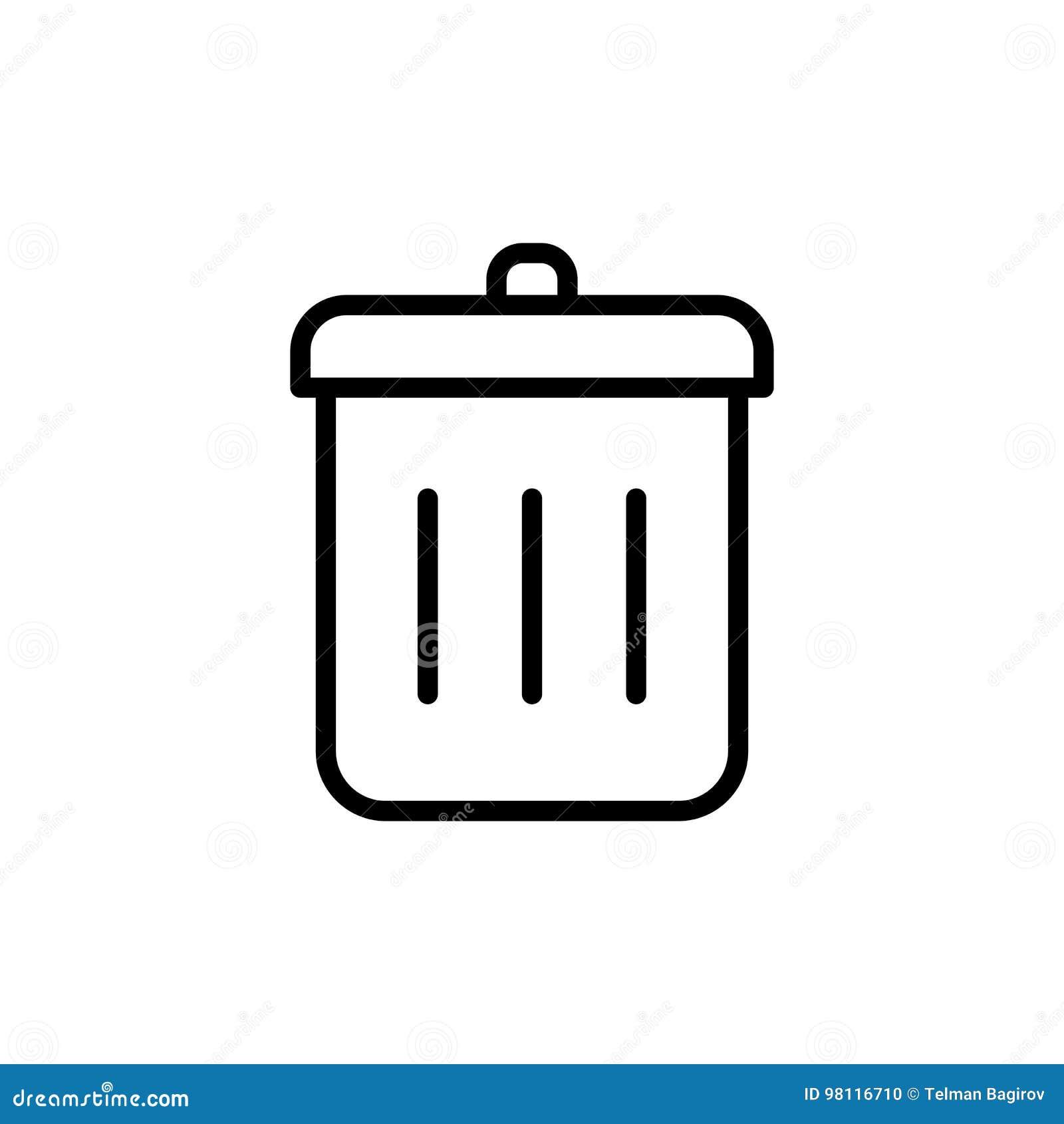 Cienieje kreskową kosz na śmieci ikonę