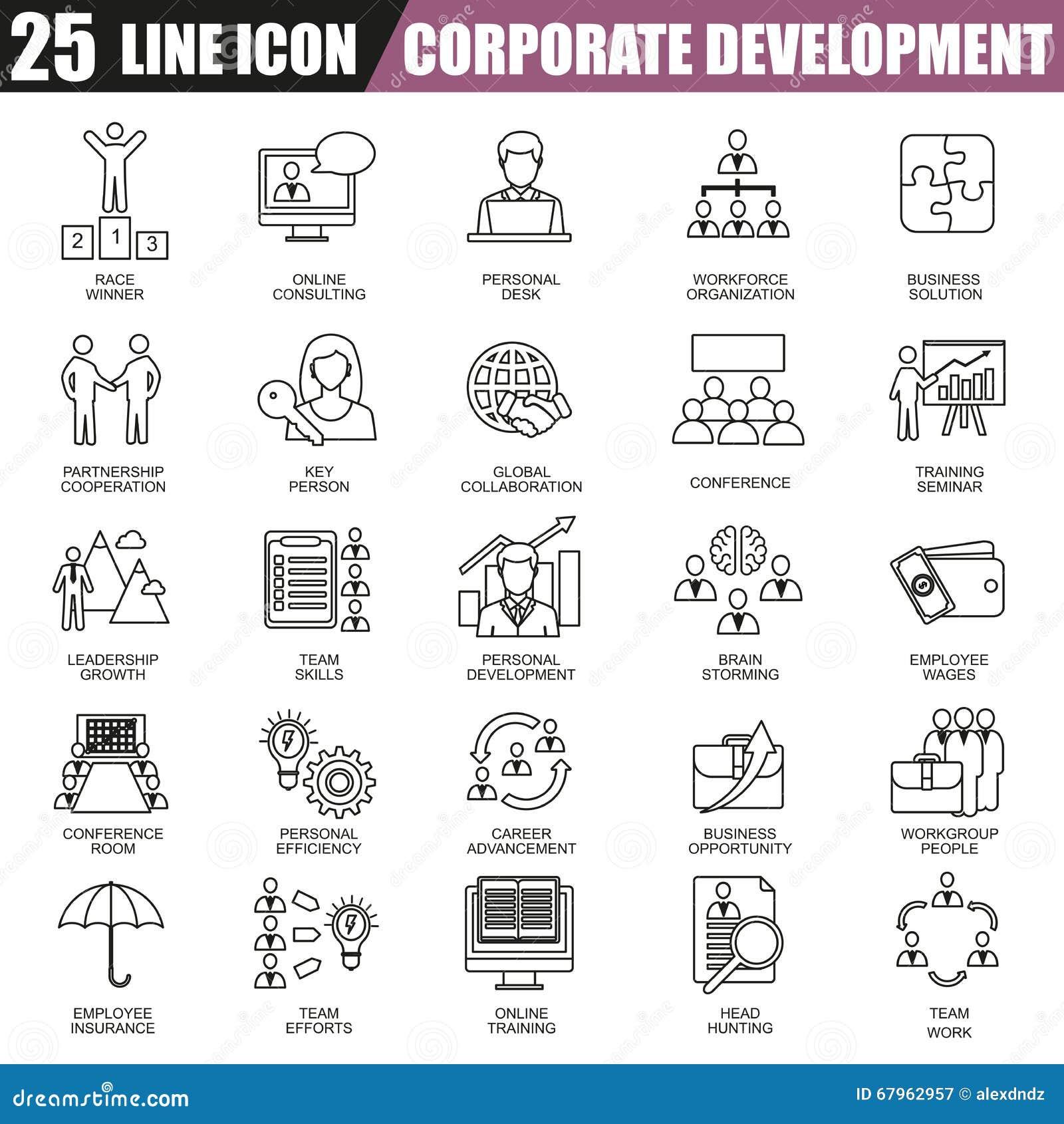 Cienieje kreskowe ikony ustawiać korporacyjny rozwój, biznesowy przywódctwo szkolenie i korporacyjna kariera,