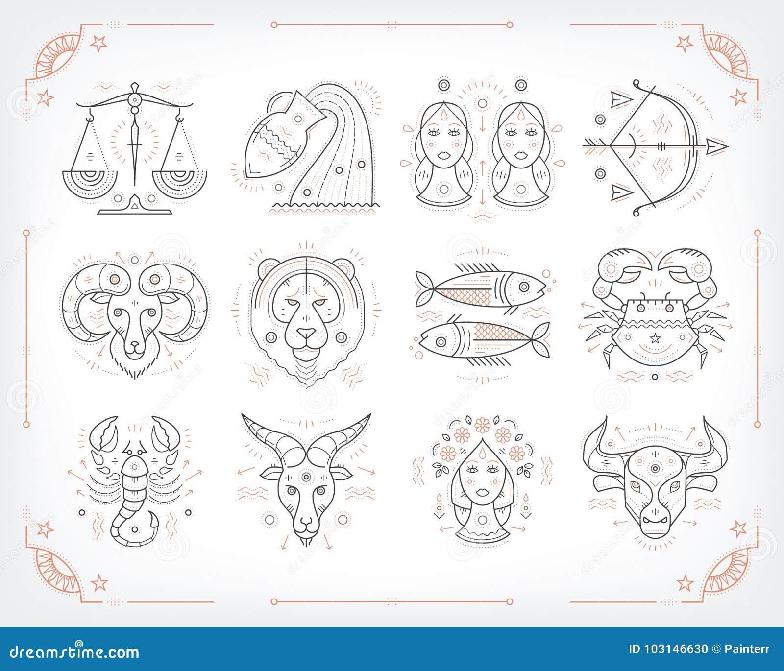 Cienieje kreskowych wektorowych zodiakalnych symbole Astrologia, horoskopu znak, graficznego projekta elementy, drukowy szablon R