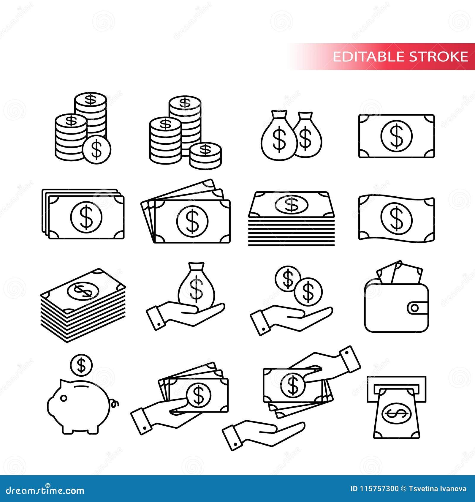 Cienieje linię, w pełni editable ikona set Pieniądze ikony Pieniądze sterta, mennicza sterta, prosiątko bank, portfel z pieniądze
