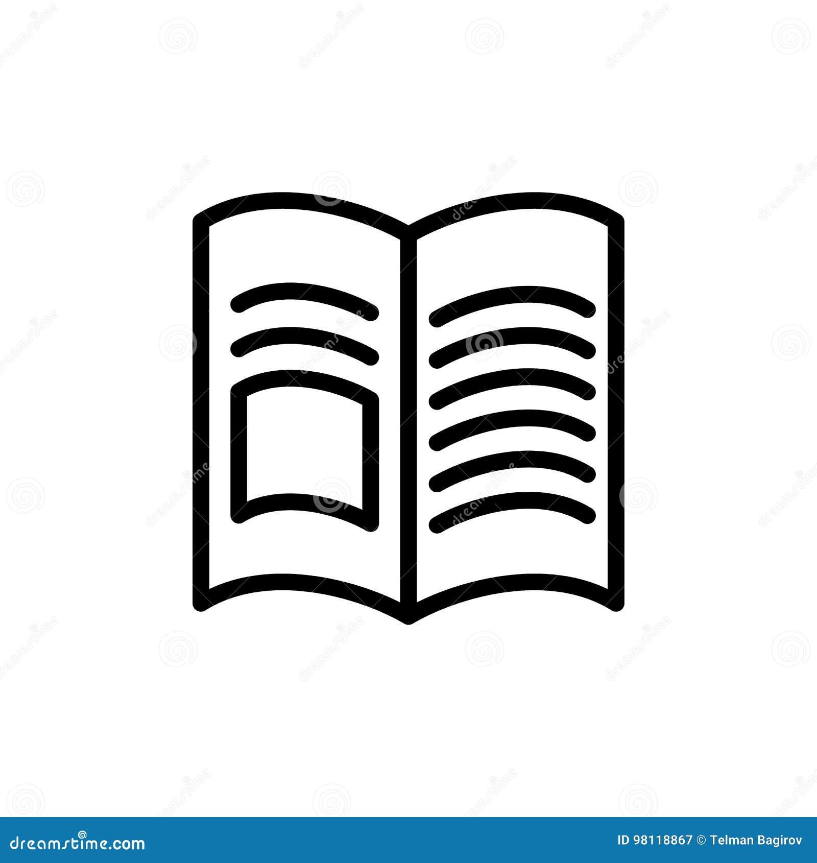 Cienka linii książka, magazyn ikona