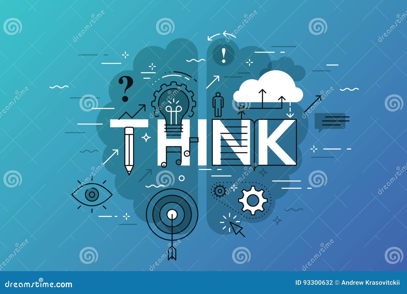 Cienki kreskowy płaski projekta sztandar dla myśli strony internetowej, uczenie, wiedza, innowacja, twórczość, rozwiązania