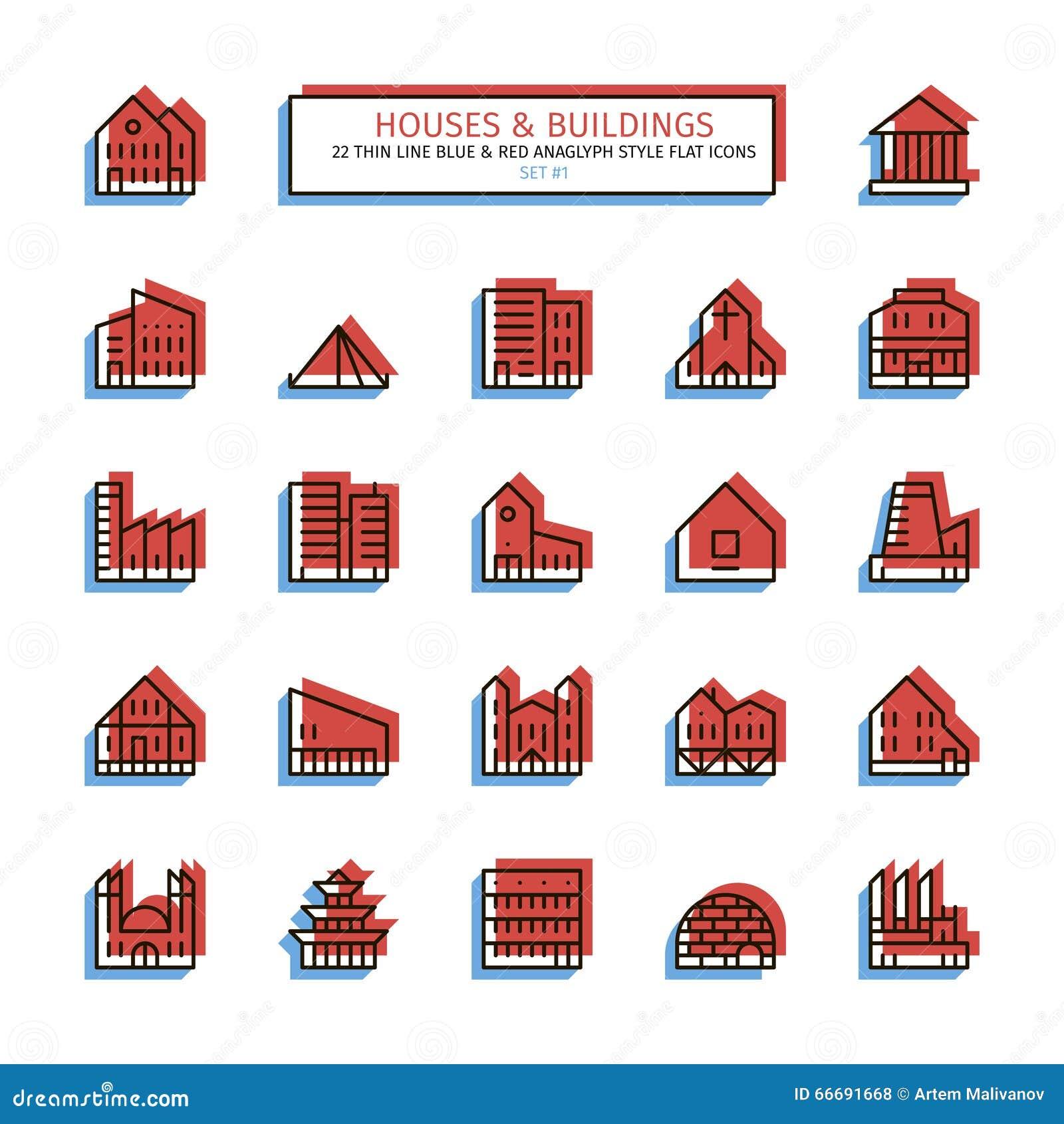 Cienkie kreskowe anaglifu stylu ikony Domy i budynki ustawiający