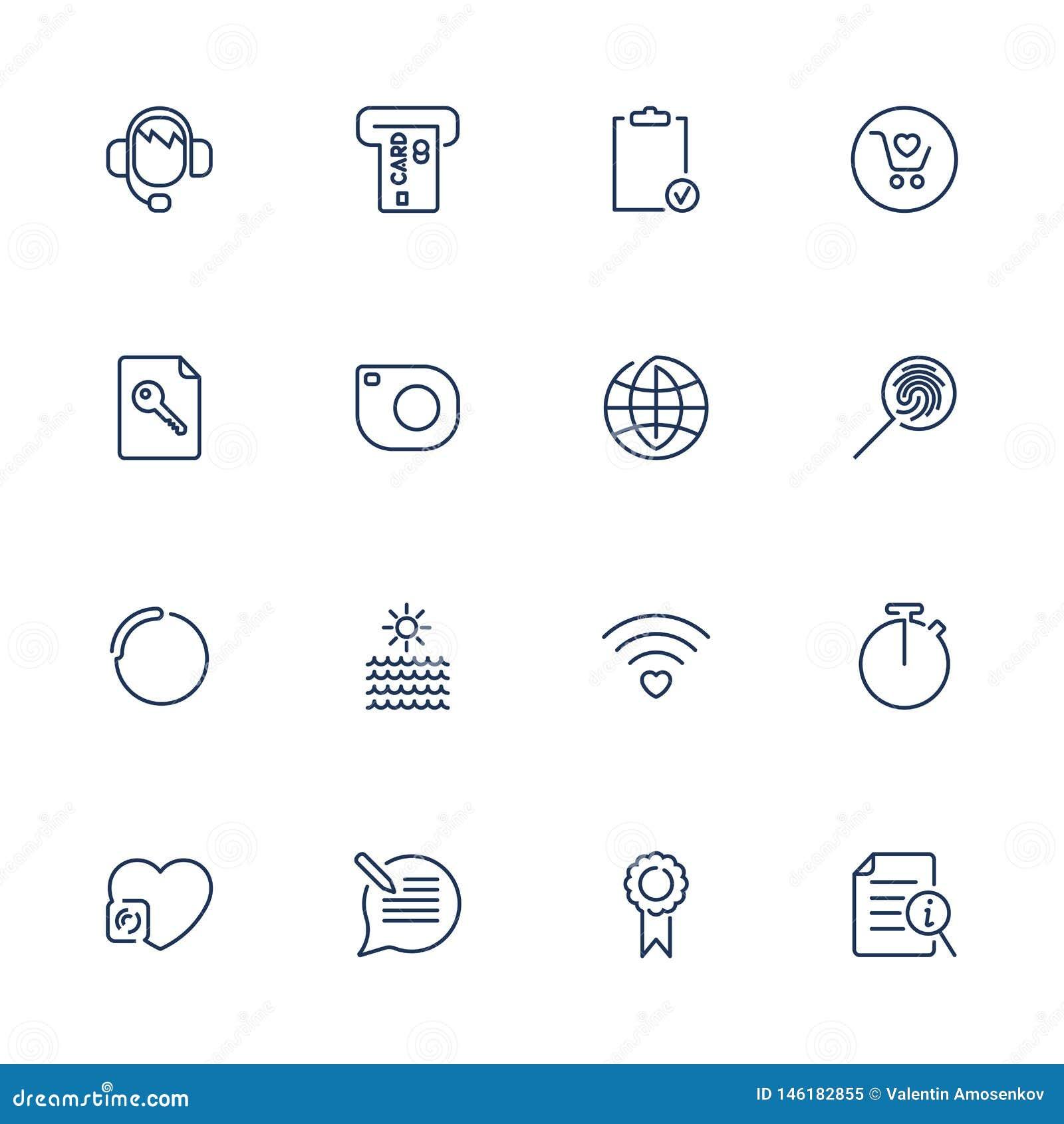 Cienkie linii sieci ikony ustawia?, kreskowe ikony, sieci ikony