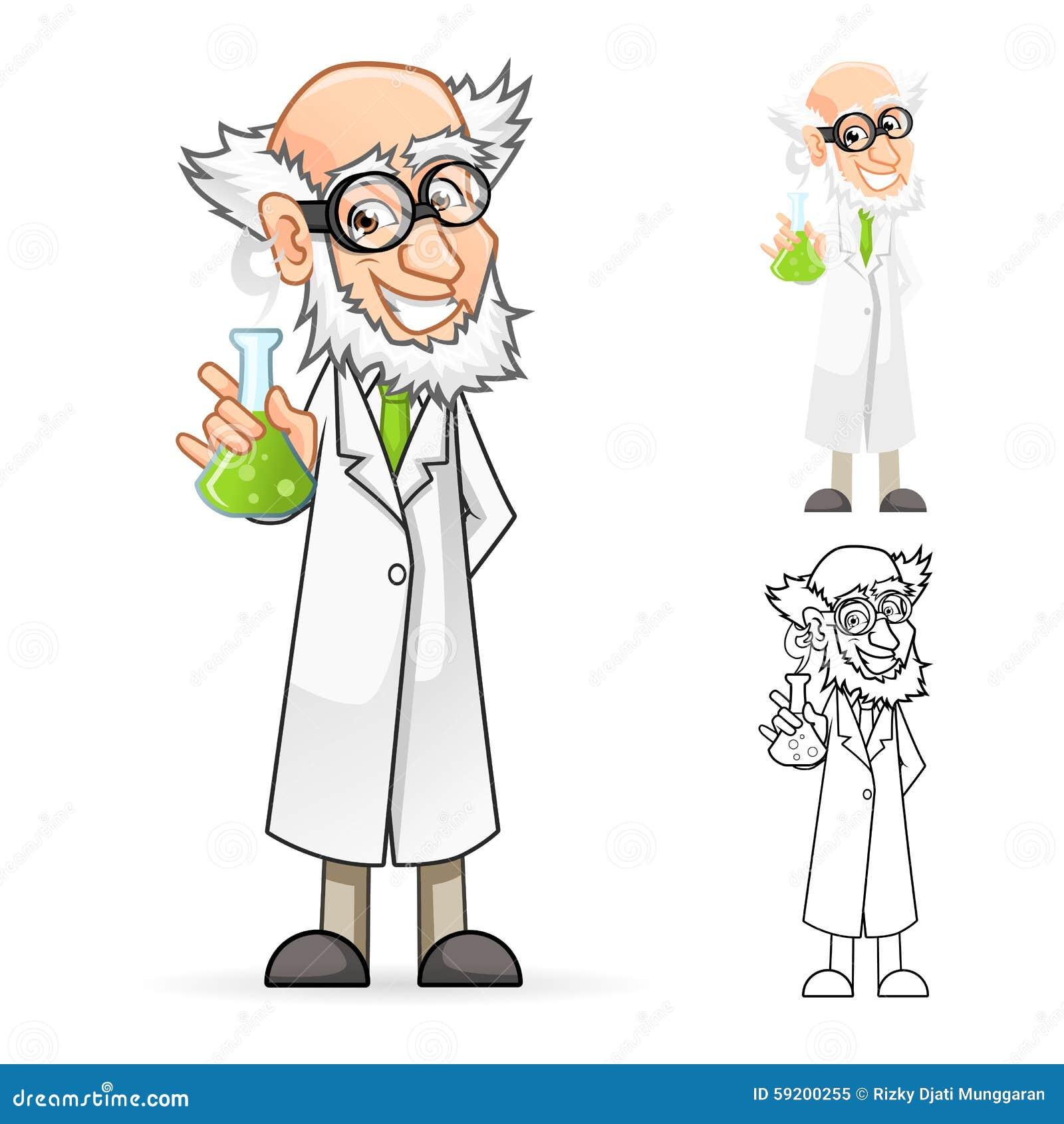 Científico Cartoon Character Holding un cubilete que siente grande
