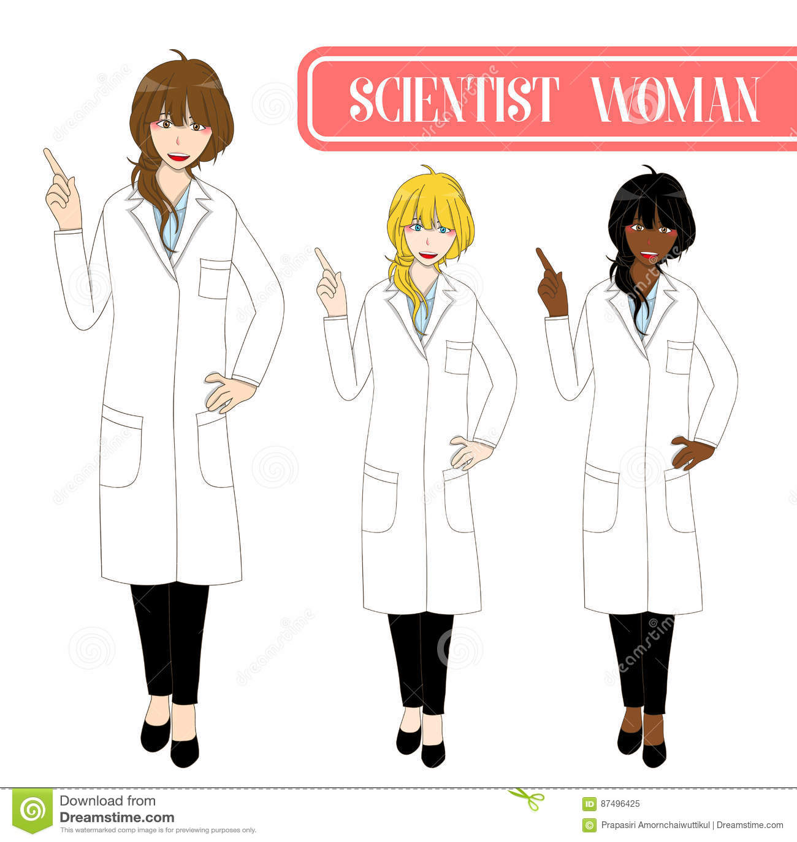 Científico lindo determinado Woman Pointing Up con la cara feliz Hembra del personal médico Ejemplo completo del vector del cuerp
