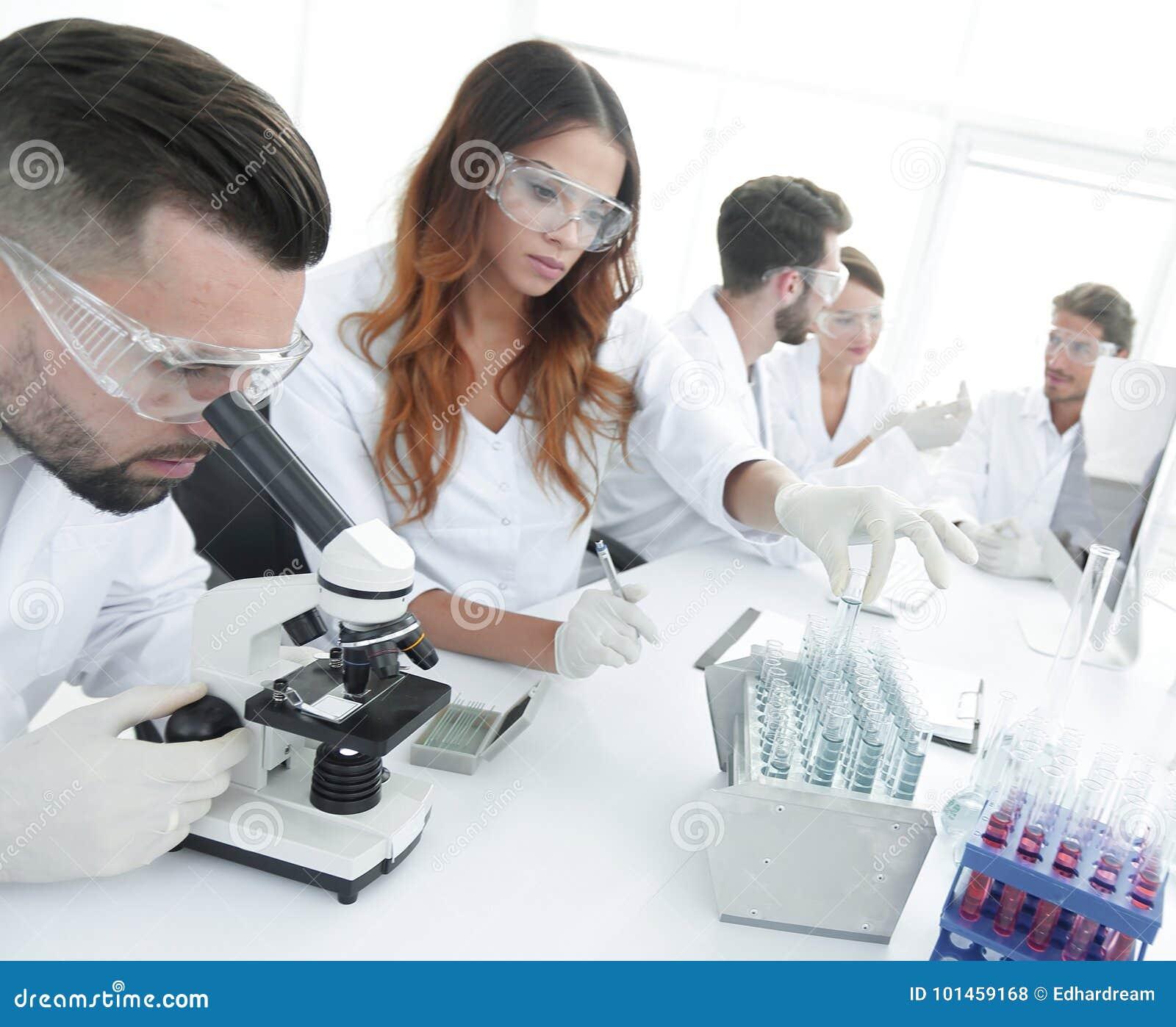 Científicos que examinan en el laboratorio con los tubos de ensayo