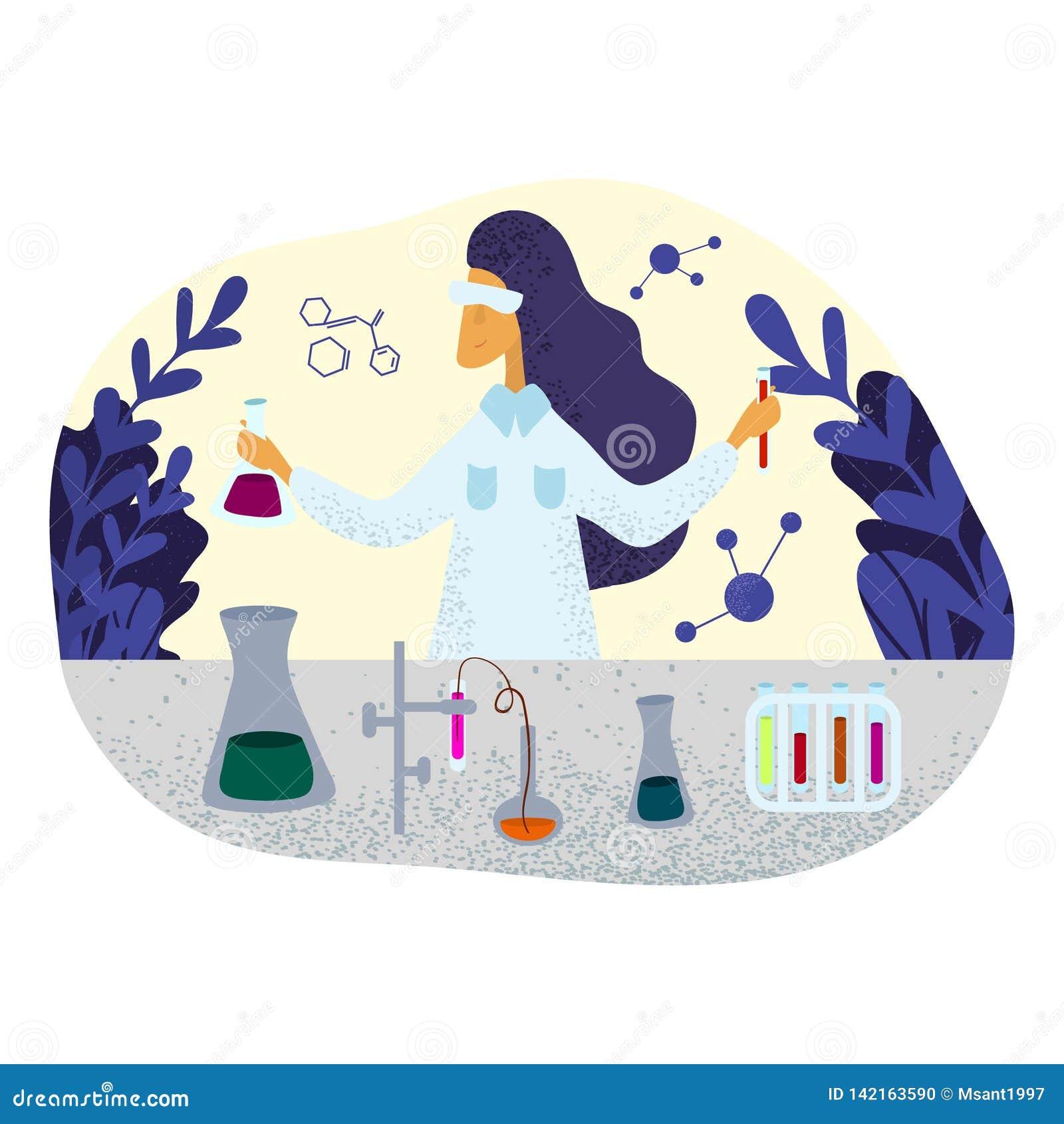 Cientista fêmea do químico no revestimento do laboratório que faz a pesquisa no laboratório