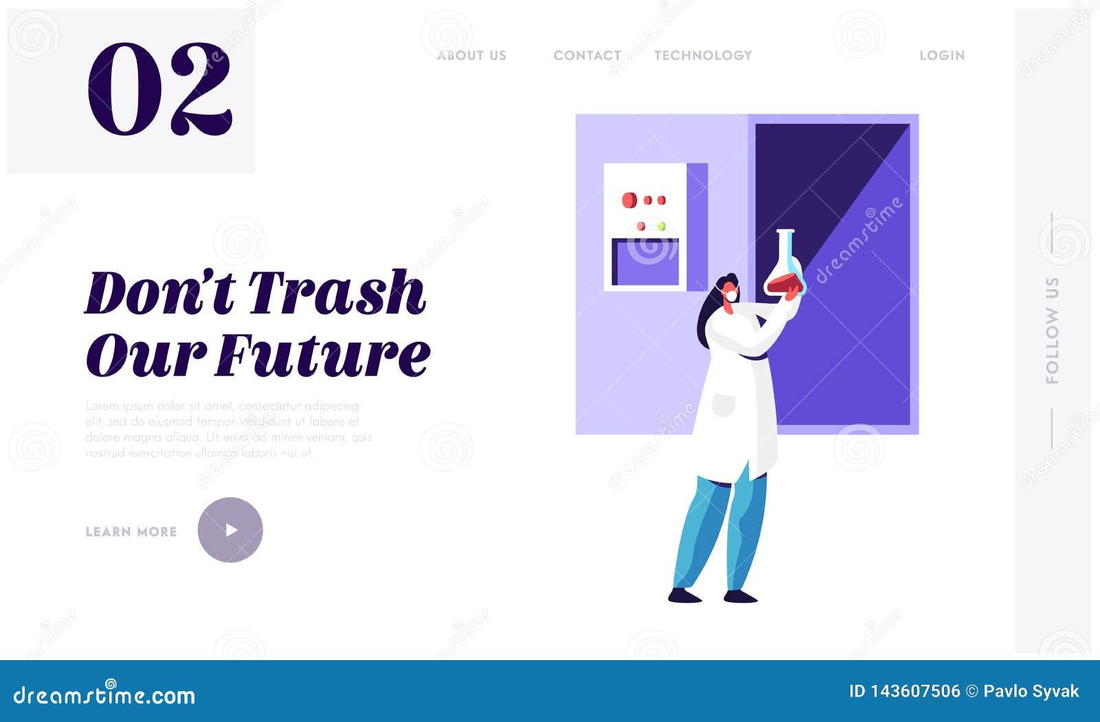 Cientista Recycle Trash da mulher no laboratório para limpar a página da aterrissagem do ambiente e da ecologia Serviço da utiliz