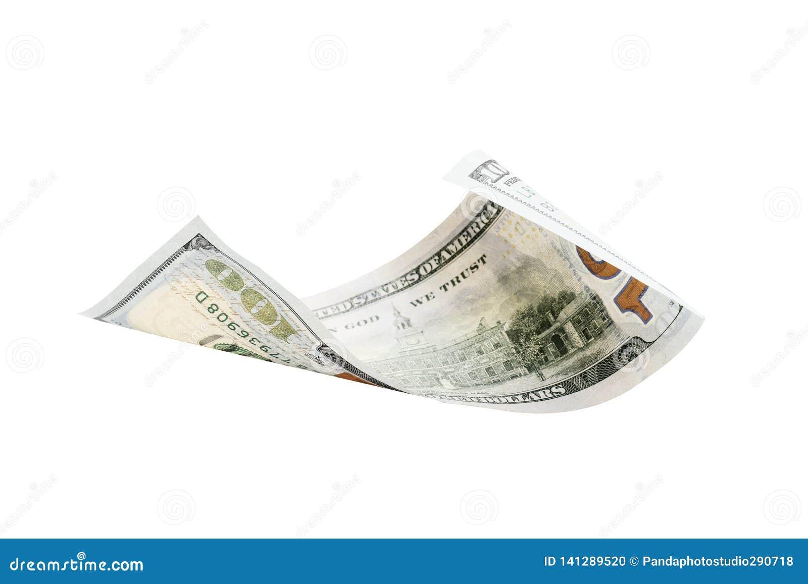Cientos dólares aislados en el fondo blanco