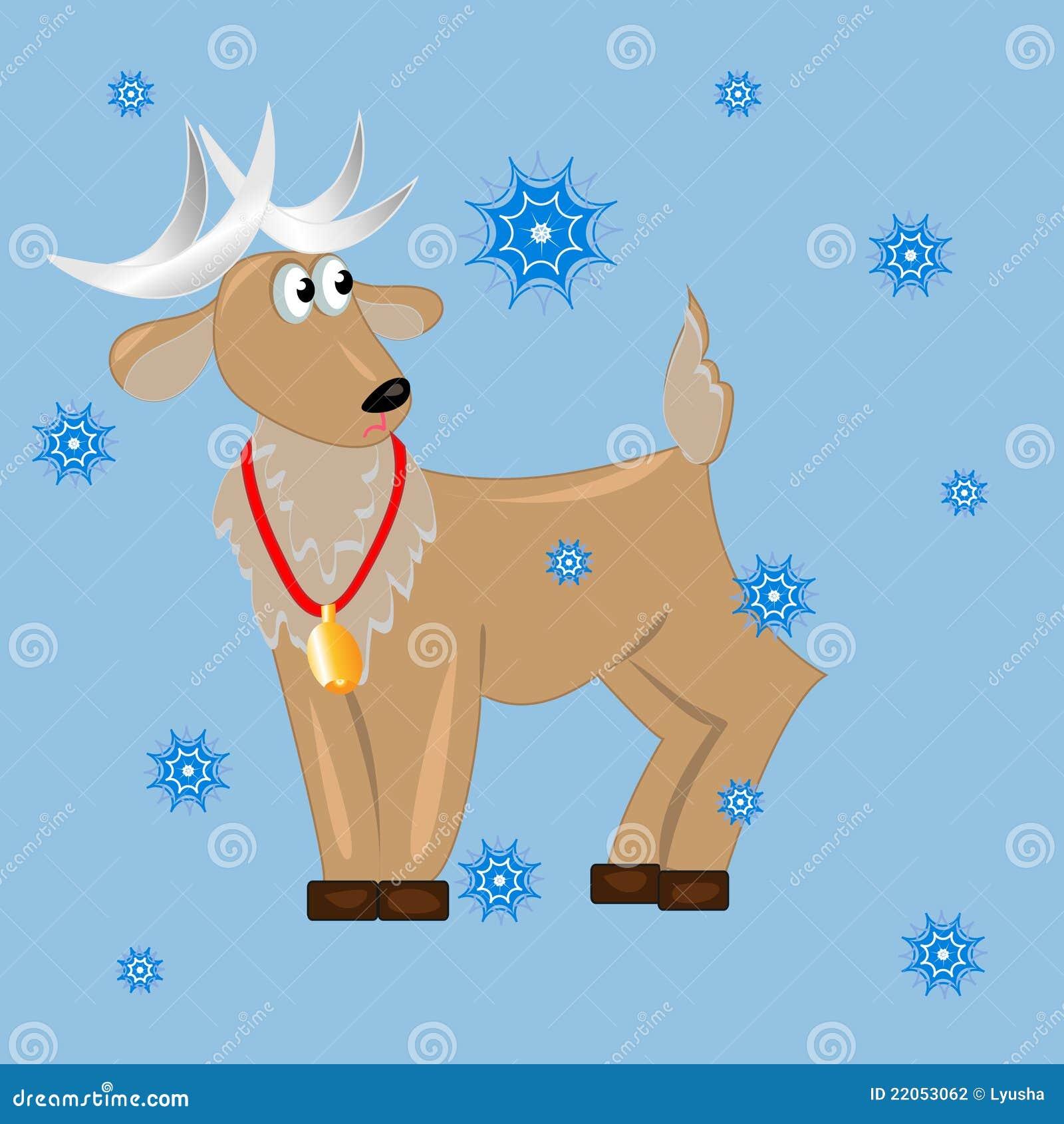 Ciervos con la Navidad de snowflakes.card