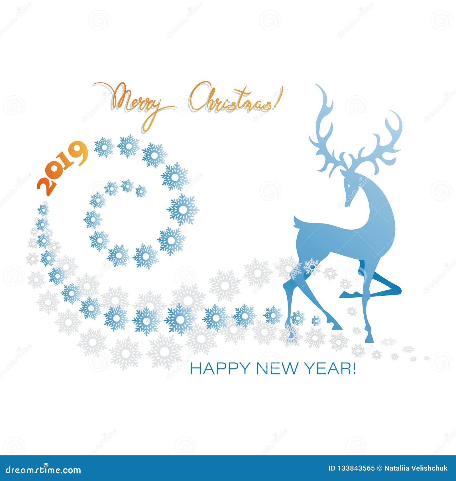 Ciervos del invierno ¡Feliz Navidad! ¡Feliz Año Nuevo 2019!