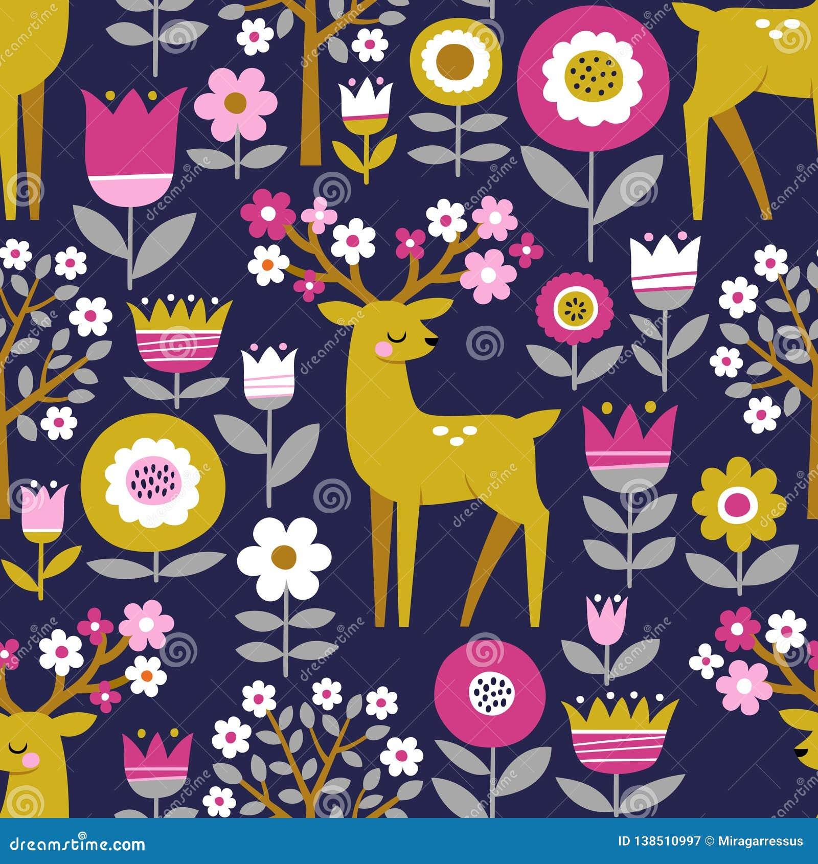 Ciervos lindos, flores y árboles florecientes
