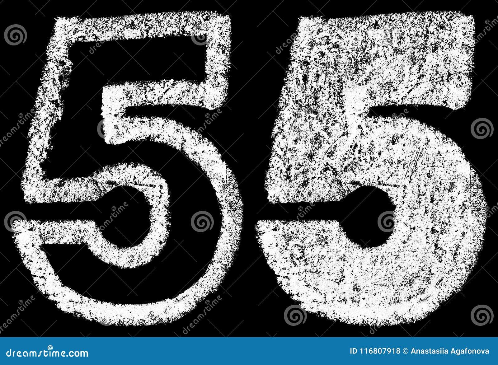 Cifra araba 5 del gesso bianco scritto a mano