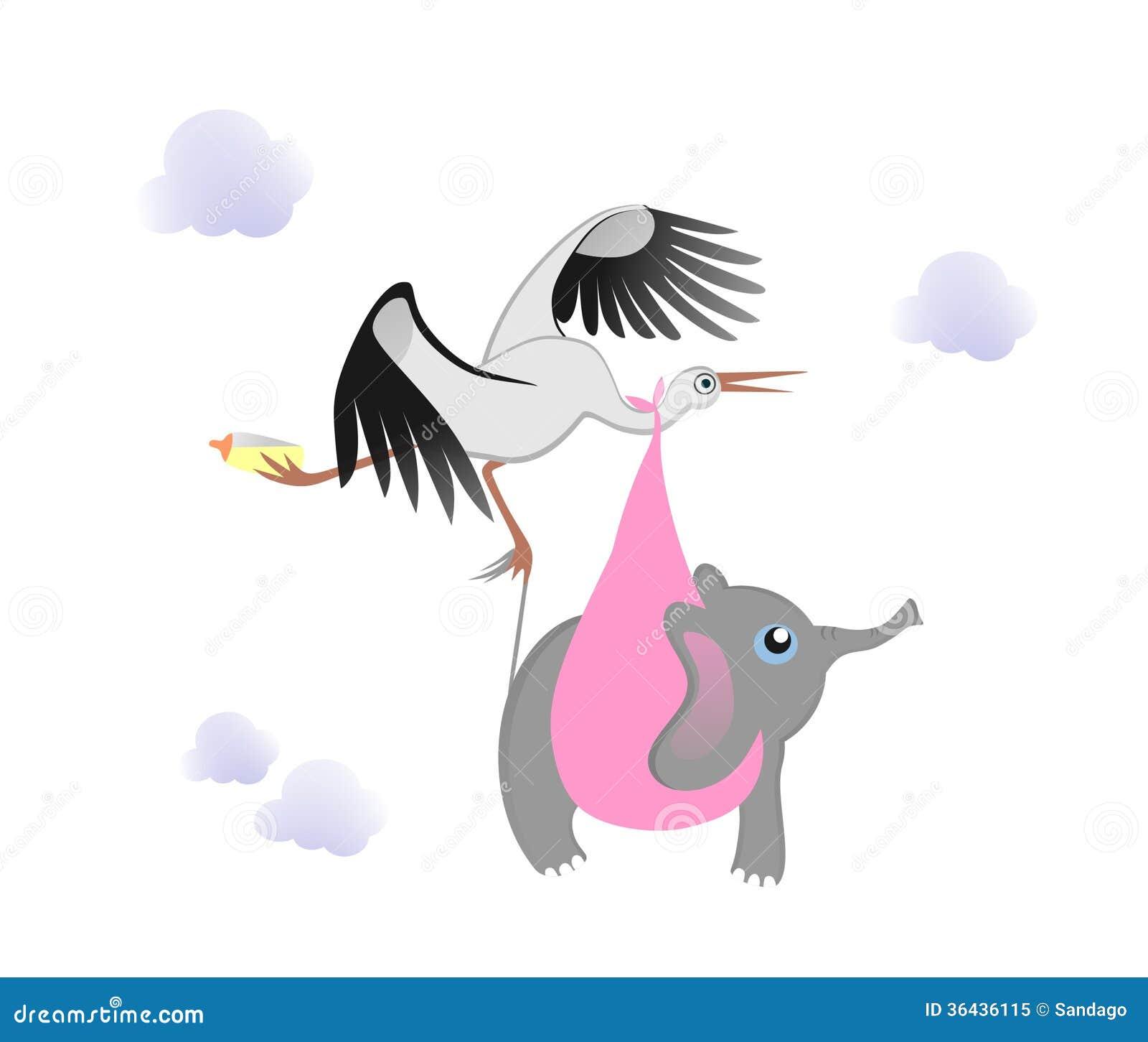Cigüeña con el elefante del bebé