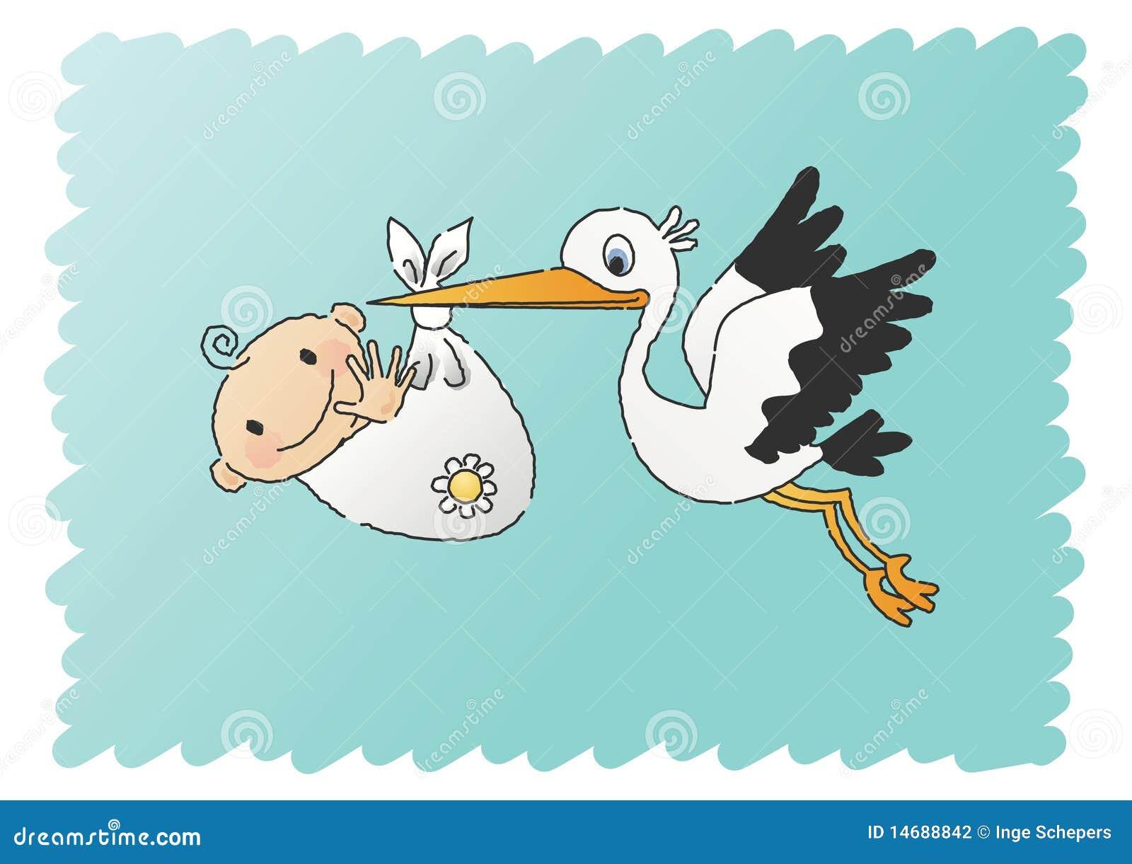 Cigüeña que entrega a un bebé