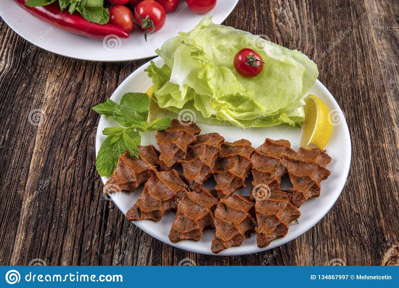 Cig kofte, a raw meat dish in Turkish and Armenian cuisines. Turkish cig means