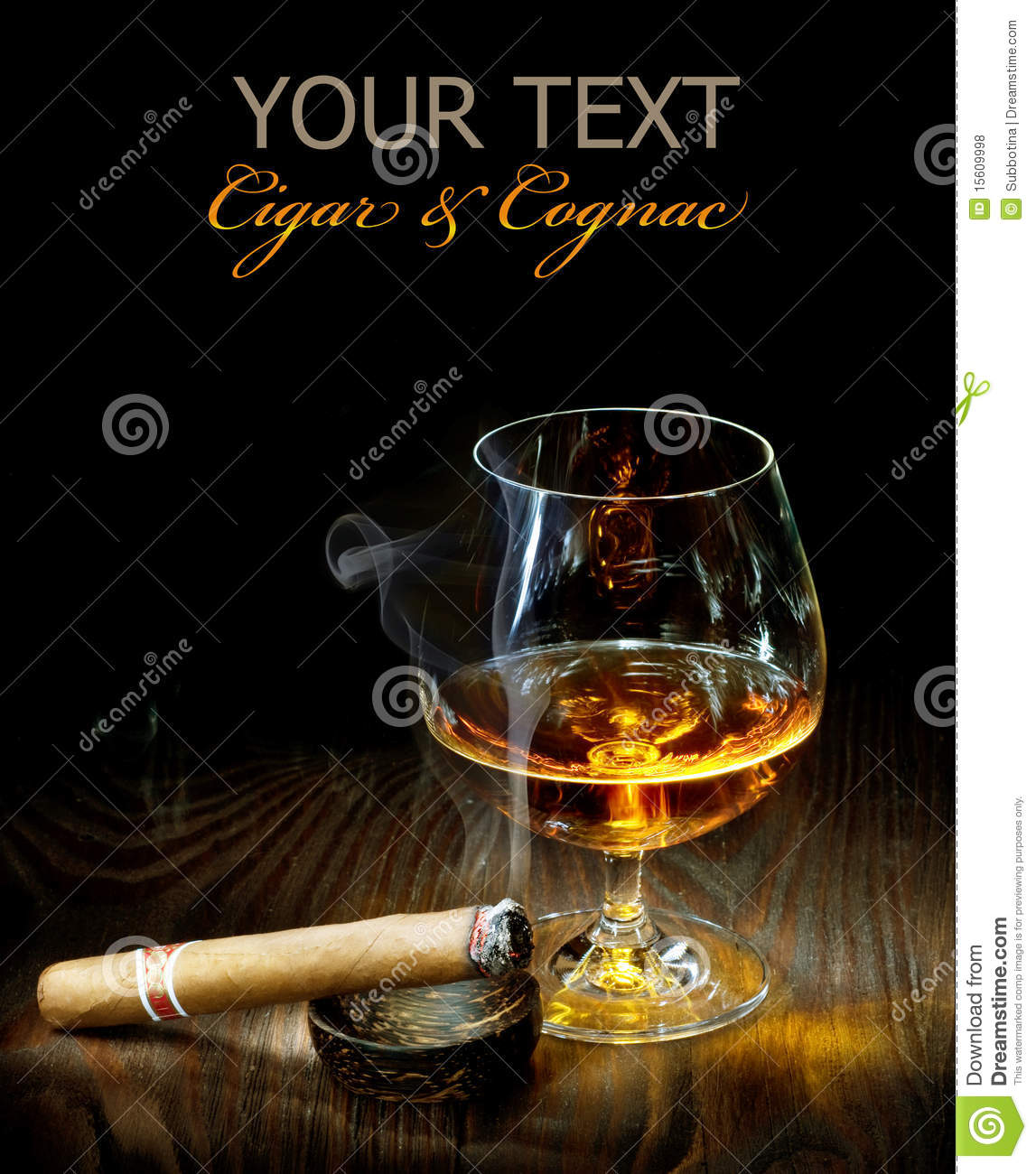 Cigar And Cognac Royalty Free Stock Photos Image 15609998
