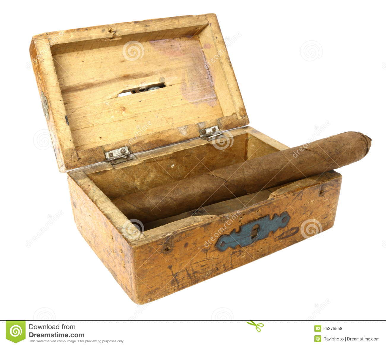 Cigar In Old Box Stock Photo Image Of Background Closeup 25375558