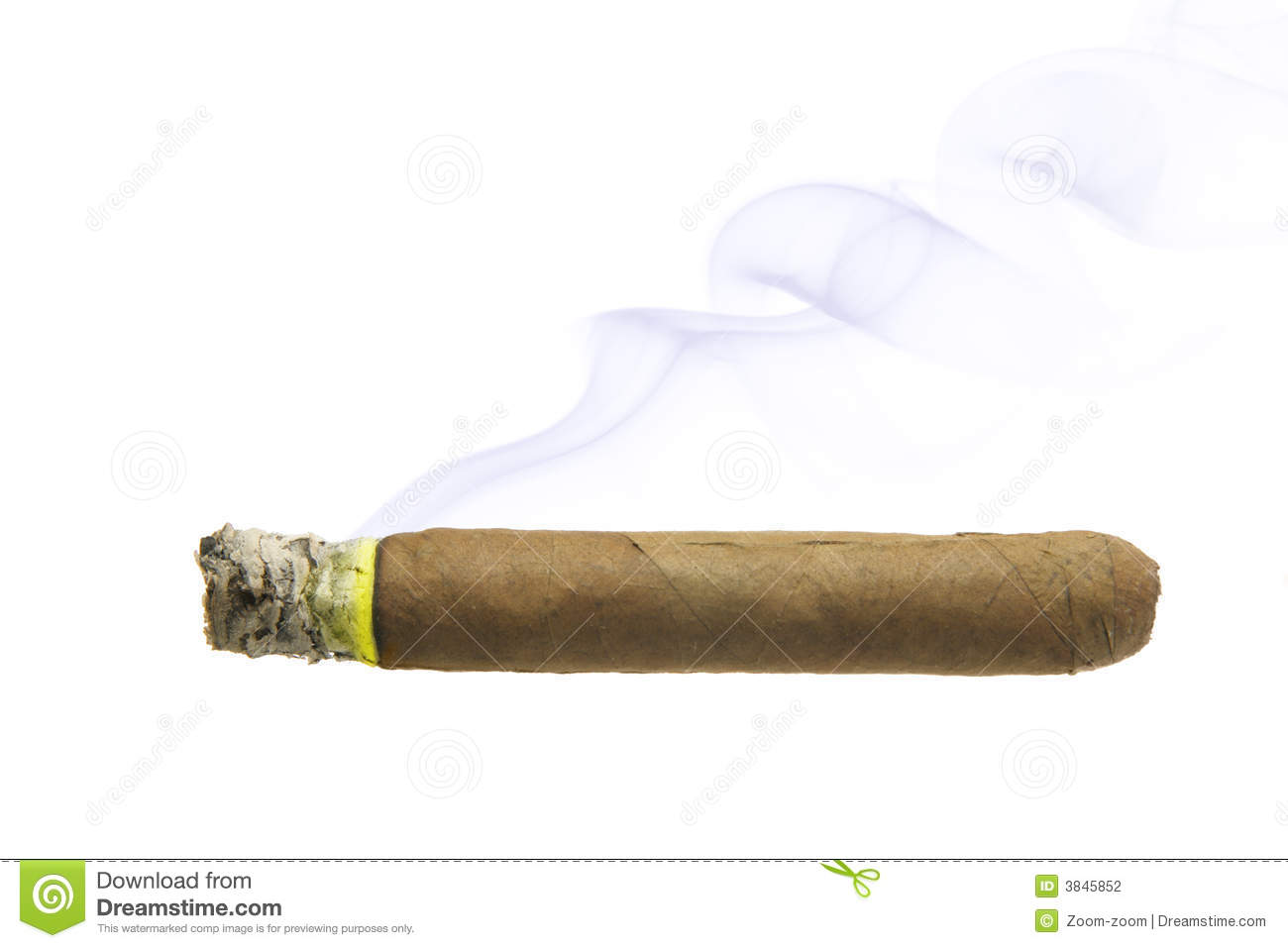 Cigar With Smoke Isolated Stock Photography - Image: 3845852