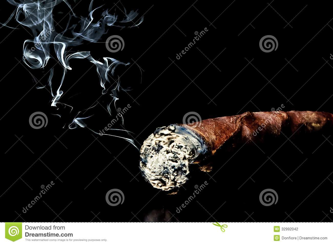 Cigar with smoke with space for text