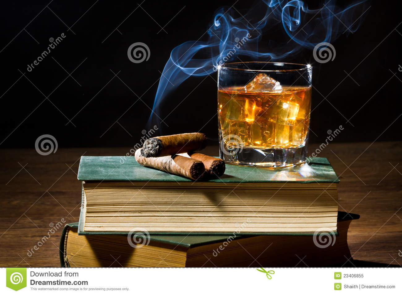 Download Cigar With Smoke And Whisky On Ice And Books Stock Image - Image of cold, dark: 23406855