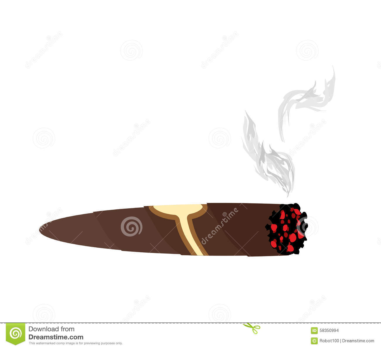 cigar and smoke on a white background an expensive cuban