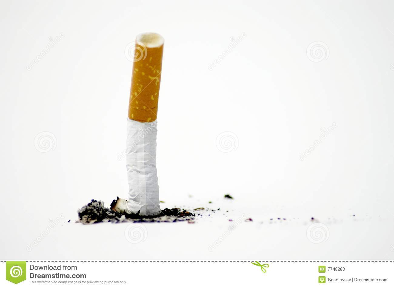 Cigarette on white - No smoking
