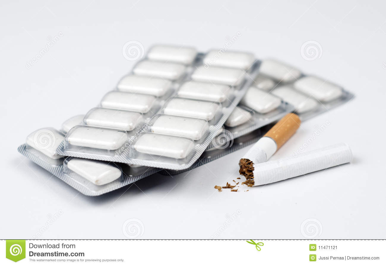 Cigarette and nicotine chewing gum.