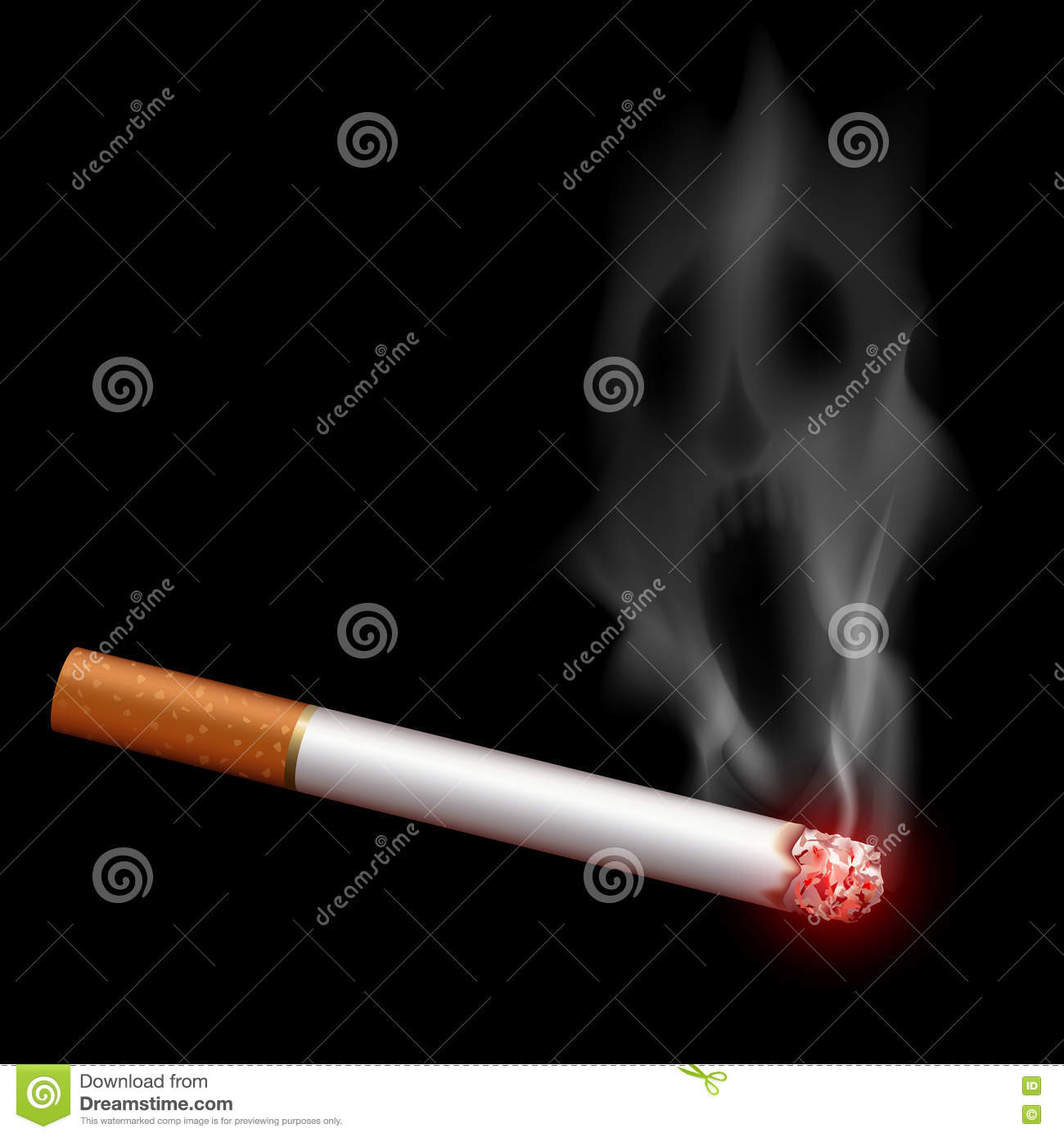 Cigarette With Smoke In The Form Of A Monster  Bad Habit