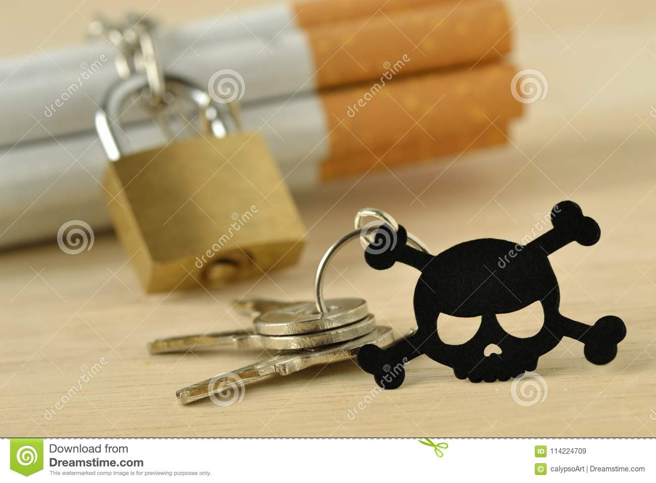 cigarettes wrapped around with chain and locked by padlock and k