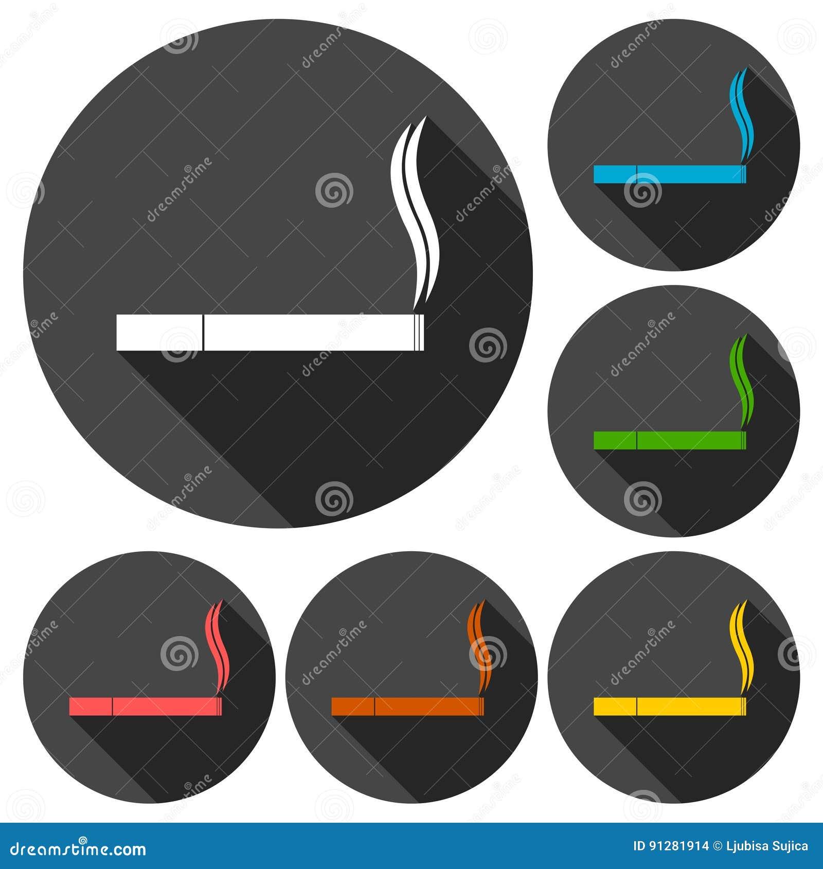Cigarettsymbolsuppsättning med lång skugga