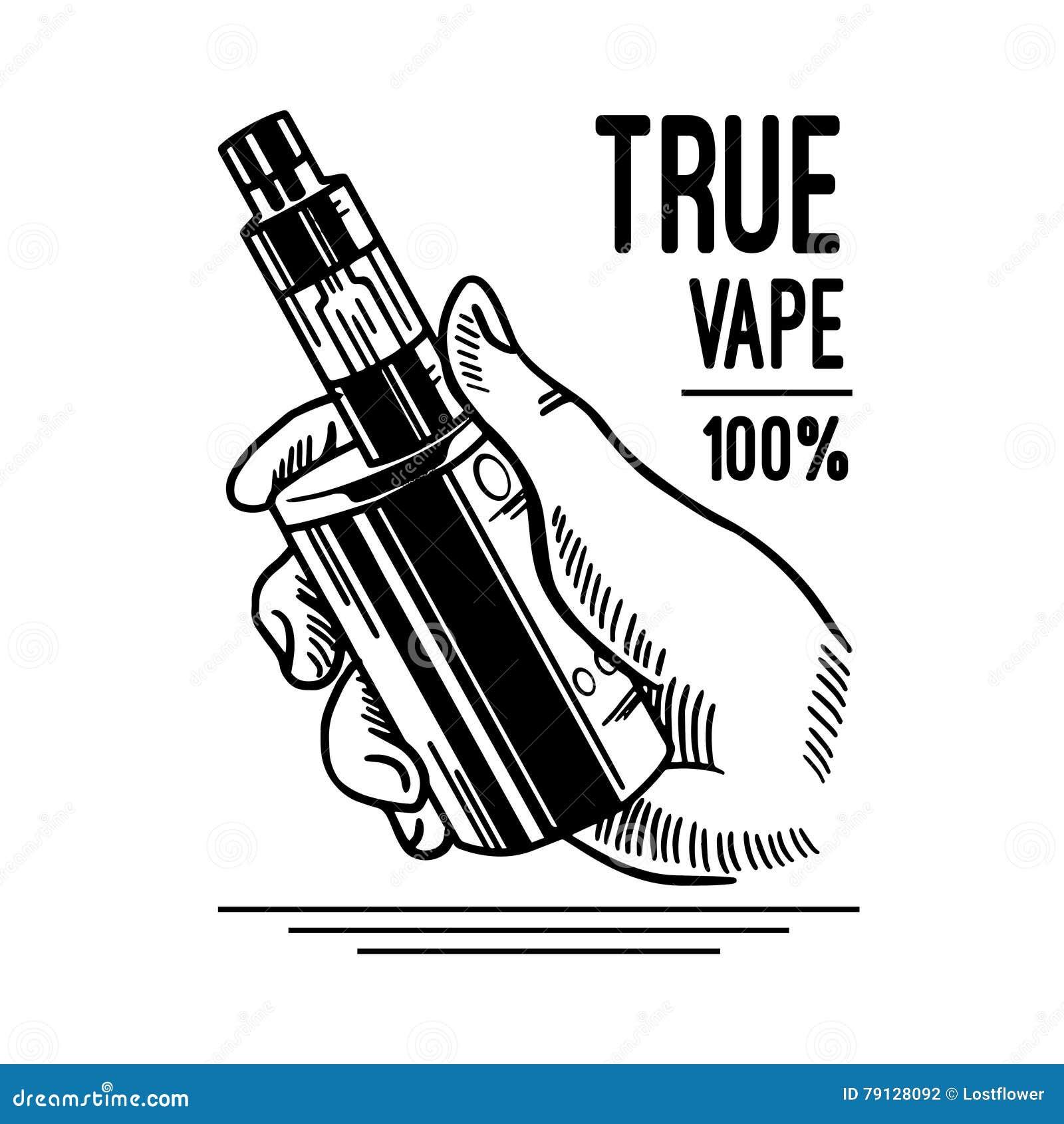 Cigarro e líquido eletrônicos, crachás monocromáticos do vetor da loja de Vape, emblemas