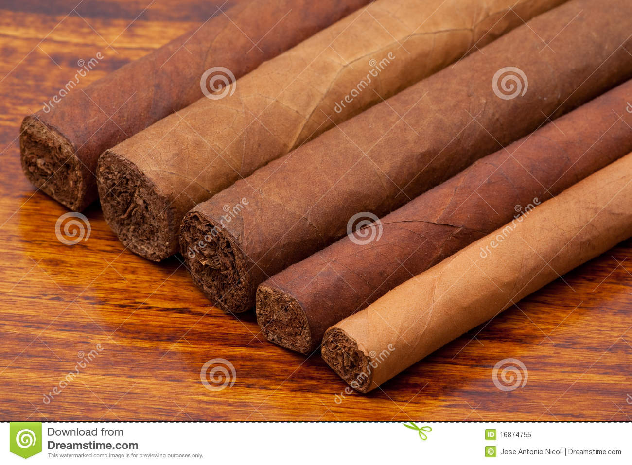 Cigars of different sizes close up