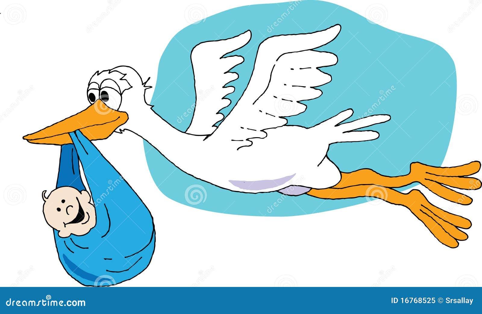 Cigogne Avec Le Bébé Illustration De Vecteur Illustration