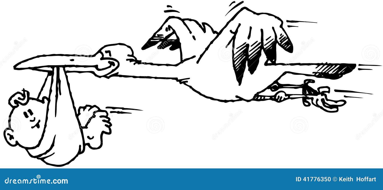 Cigogne Avec Le Vecteur Clipart De Bande Dessinée De Bébé